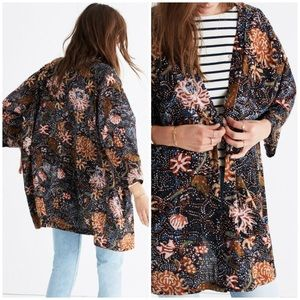 Madewell Navy Seafloral Robe Jacket